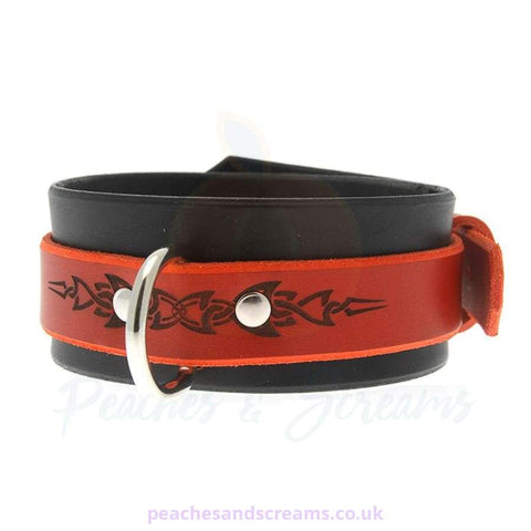 HOUSE OF EROS RED AND BLACK TRIBAL BDSM COLLAR