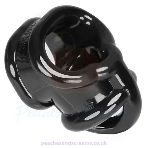 OXBALLS BALLSLING BLACK STRETCHY COCK RING WITH BALL SPLITTER