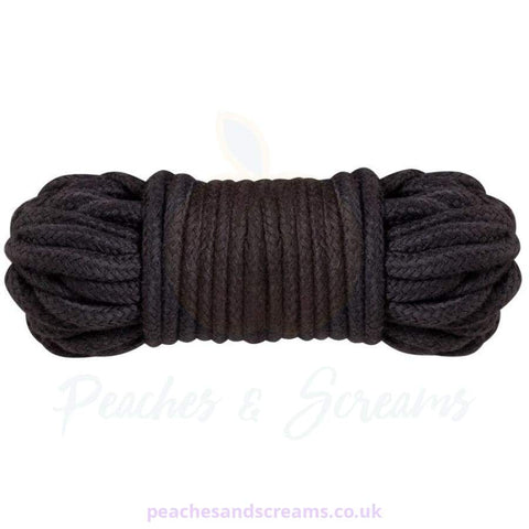 SOFT BLACK COTTON ROPE FOR BDSM BONDAGE PLAY, 10M