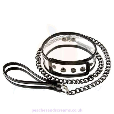 UNISEX CLEAR VINYL COLLAR AND LEASH RESTRAINT FOR BONDAGE