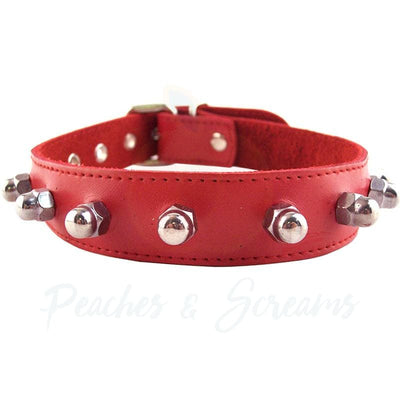 19-Inch Rouge Garments Red Leather Collar with Nut Studs - Necronomicox