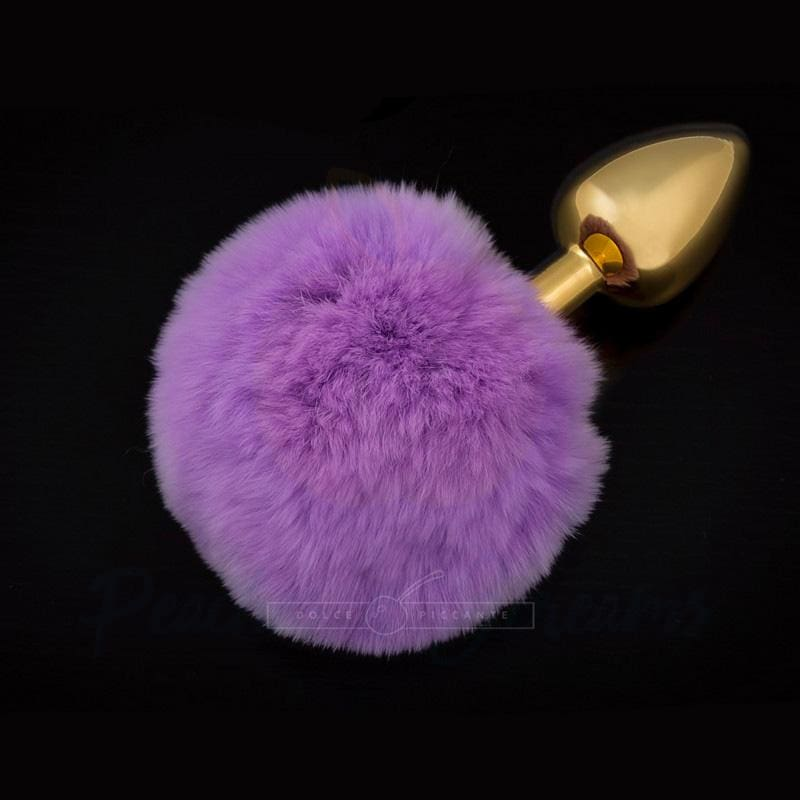 2.76-Inch Jewellery Beginners Butt Plug with Purple Tail - Peaches and Screams