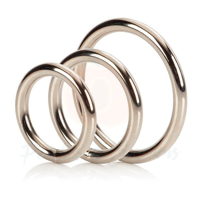 3-Piece Silver Metal Cock Love Ring Set for Men - Peaches and Screams