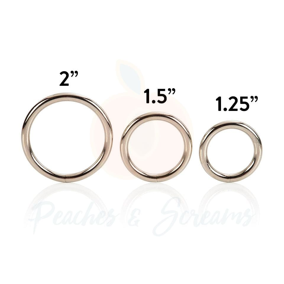 3-Piece Silver Metal Cock Love Ring Set for Men - Necronomicox