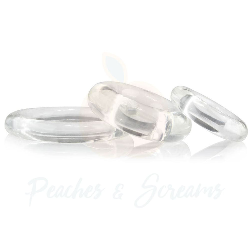 3-Piece Stretchy Clear Silicone Cock Love Ring Set for Men - Peaches and Screams