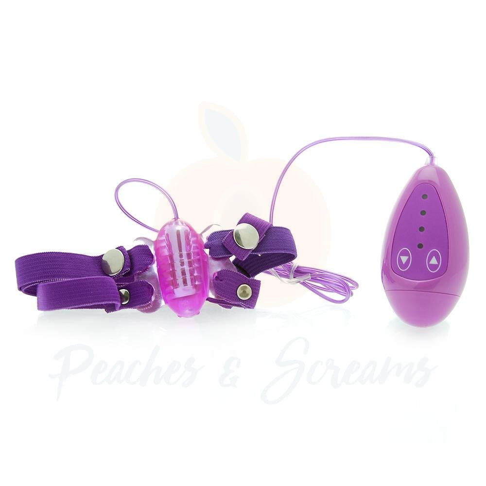 4-Speed Butterfly Clit Vibrator with Adjustable Straps - Necronomicox