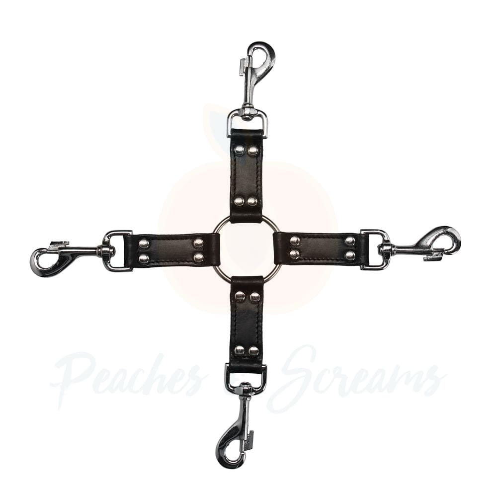 4Way Black Leather Hogtie Cross Bondage Restraint - Necronomicox