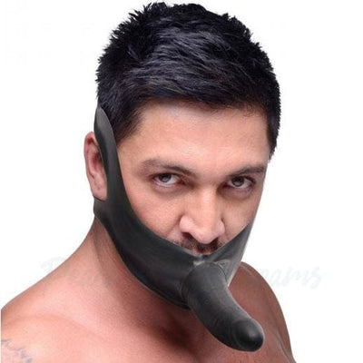 5.5-Inch Latex Face Strap-On Black Dildo Mouth Gag - Necronomicox