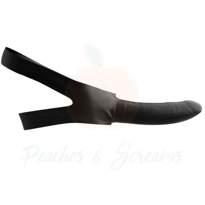 5.5-Inch Latex Face Strap-On Black Dildo Mouth Gag - Peaches and Screams