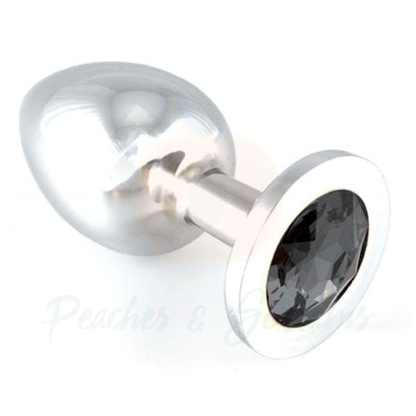 5-Inch Rimba Heavy Metal Butt Plug with Black Crystal - Peaches and Screams