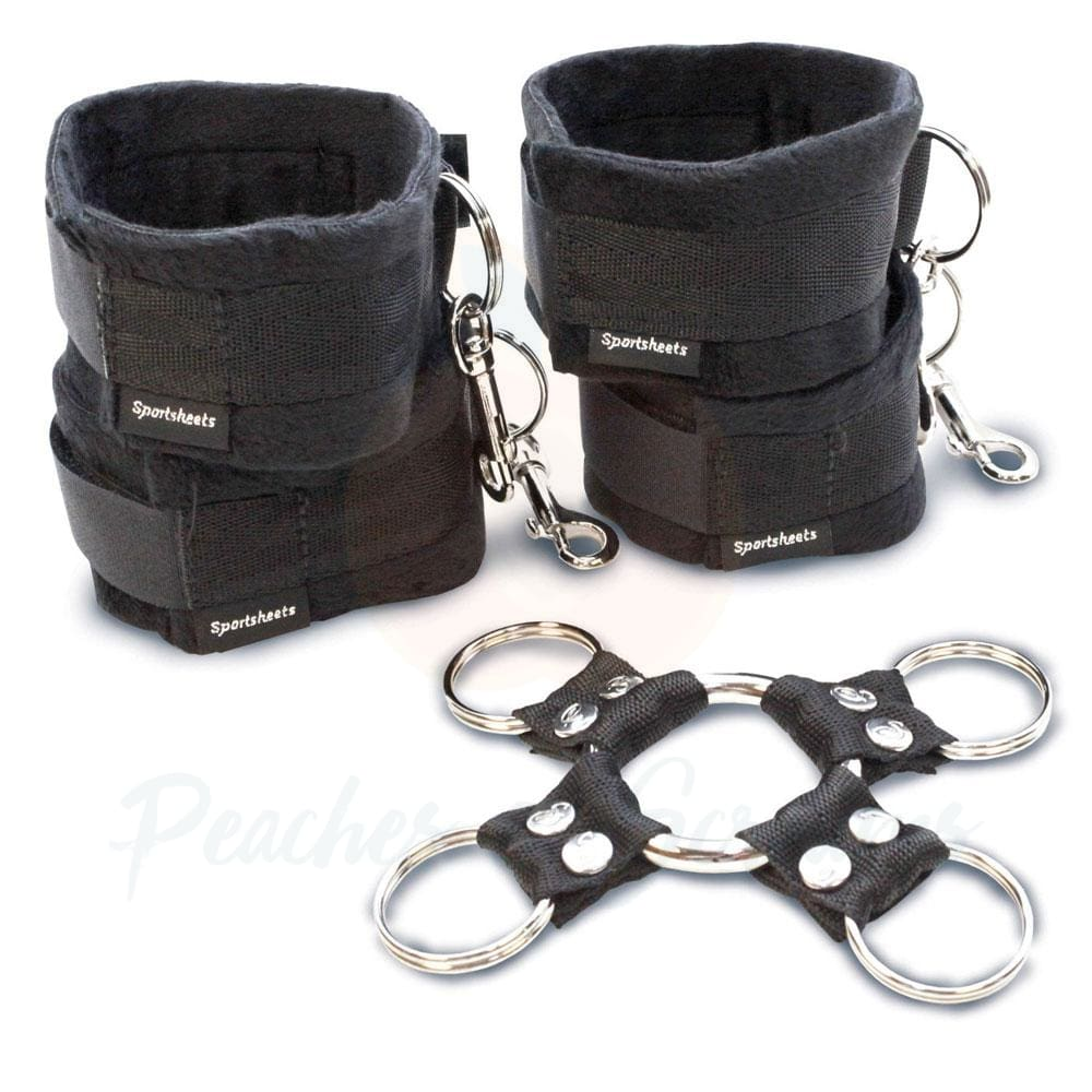 5-Piece Black Bondage Hog Tie and Cuff Set - 🍑 Peaches and Screams