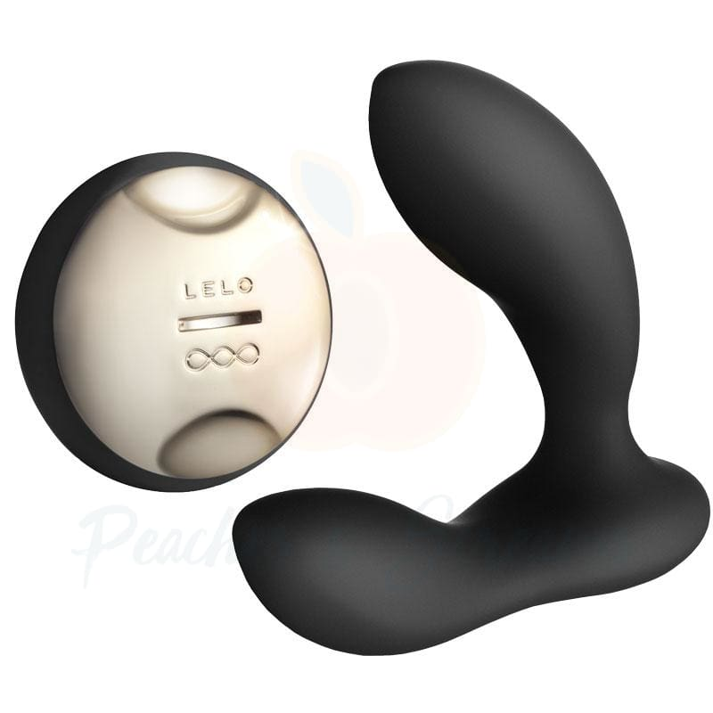 6-Inch Lelo Hugo Black Luxury Vibrating Prostate Massager - Peaches and Screams