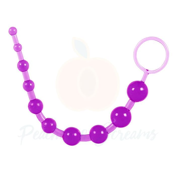 7-Inch Toy Joy Purple Jelly Anal Beads with Finger Loop - Necronomicox
