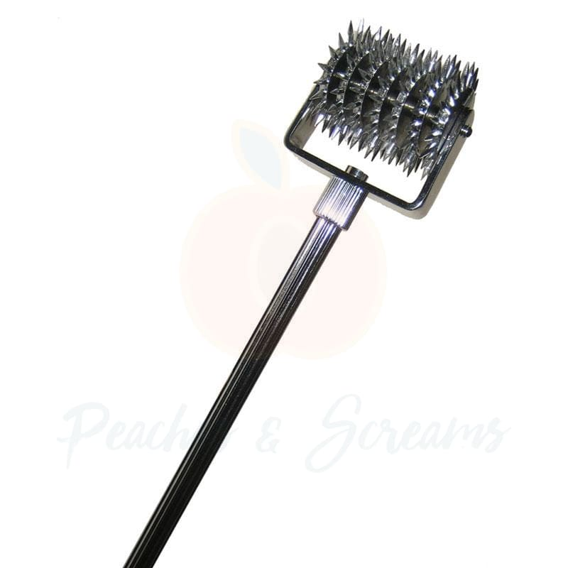 7 Wheels of Pain Silver Wartenberg Pinwheel for BDSM Bondage Play - Necronomicox