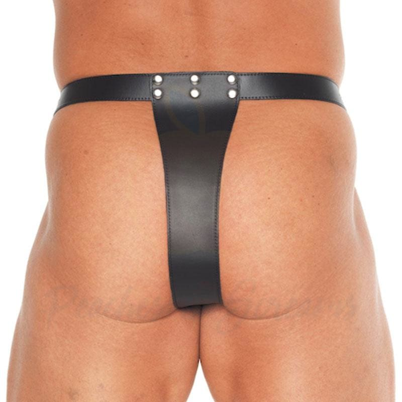 Adjustable Double Leather Brief Thong with Penis Hold and Enlarger - Necronomicox