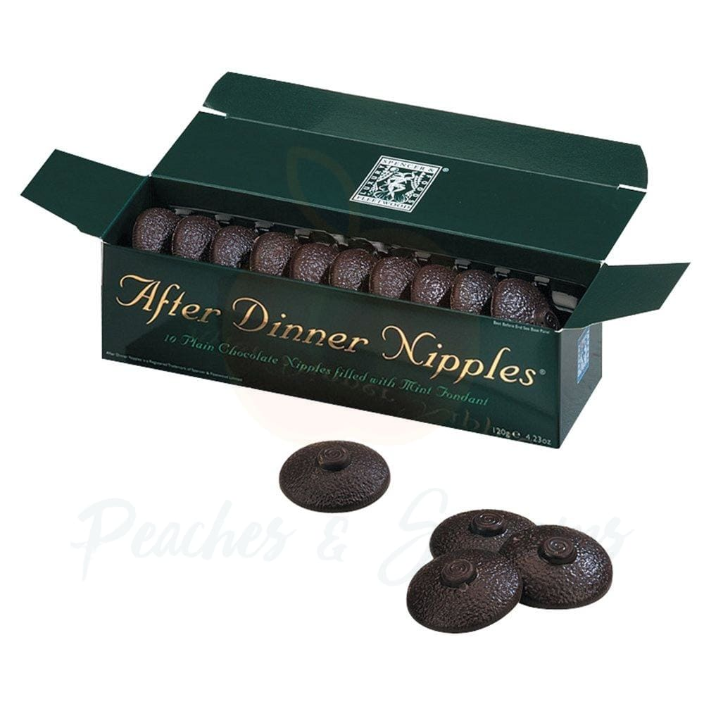 After Dinner Nipple Chocolates with Mint Fondant 10-Pack - Peaches & Screams