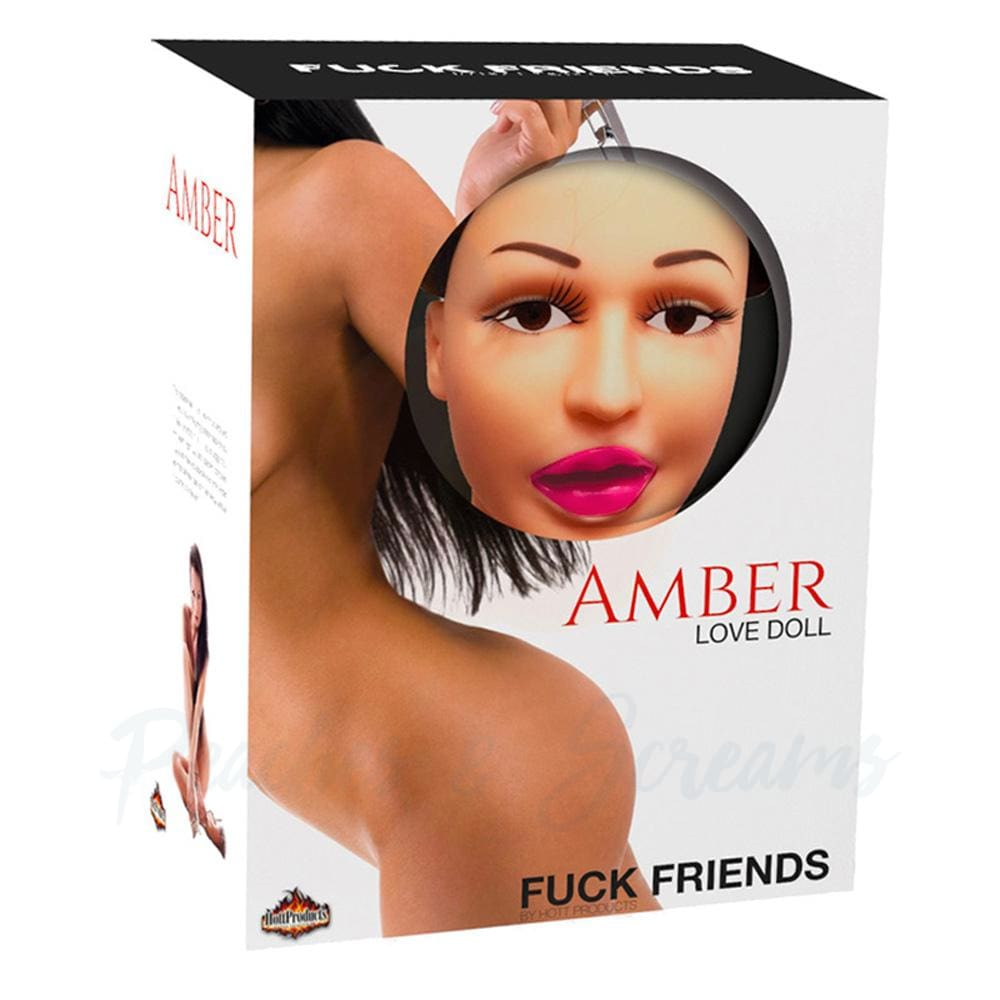 Amber Inflatable Life-Size Brunette Sex Doll with Warming Stick - Peaches and Screams