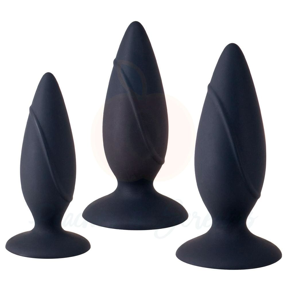 Anal Training Silicone Butt Plug Set with Powerful Suction Cup Base - 🍑 Peaches and Screams