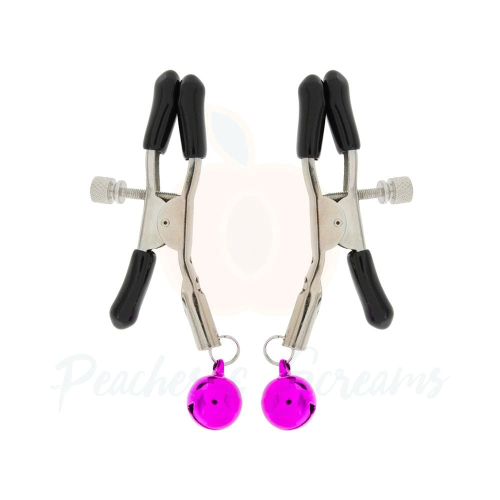 Beginners Iron BDSM Bondage Nipple Clamps with Purple Bells - Peaches and Screams