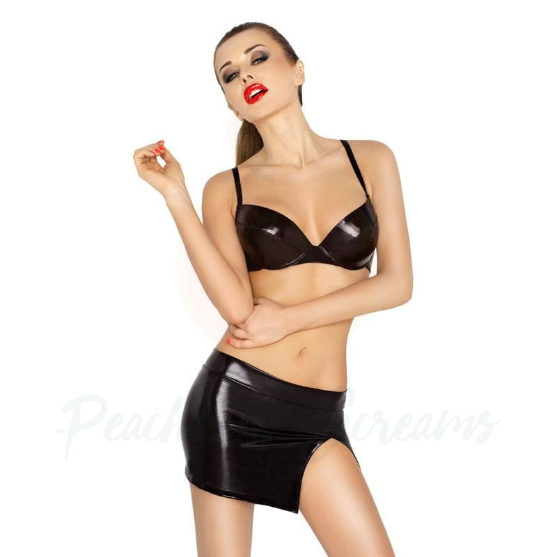 Black 3-Piece Wet-Look Push-Up Bra Mini and G-String - Peaches & Screams