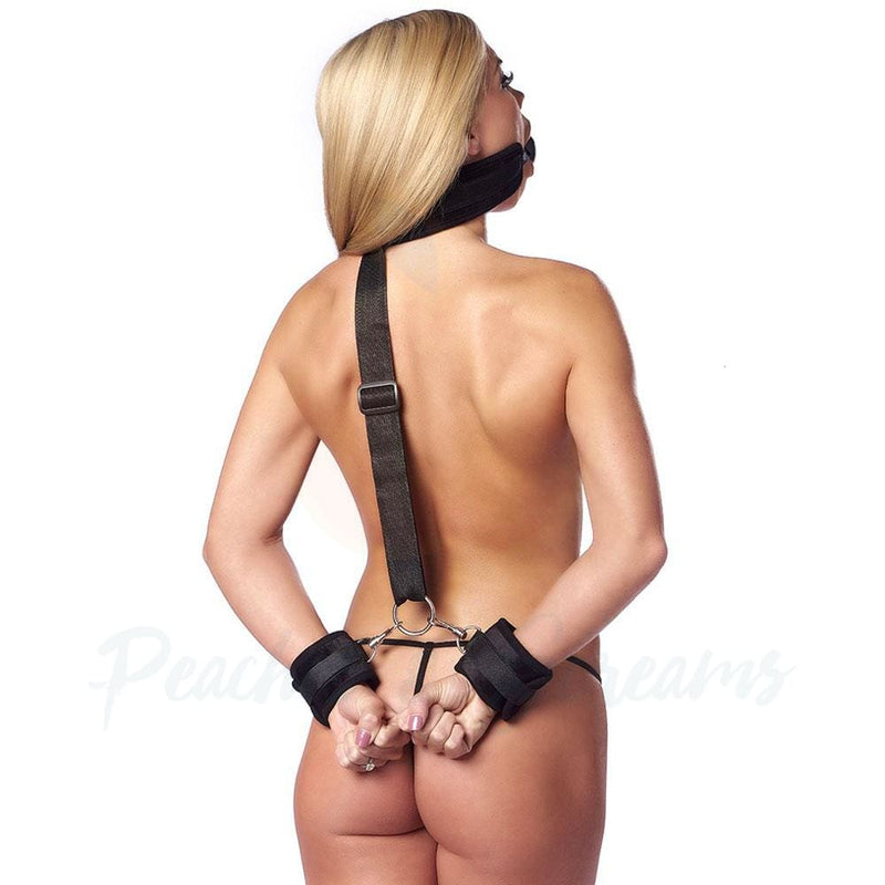 Black Bondage Mouth Ball Gag Restraint with Wrist Cuffs - Peaches and Screams