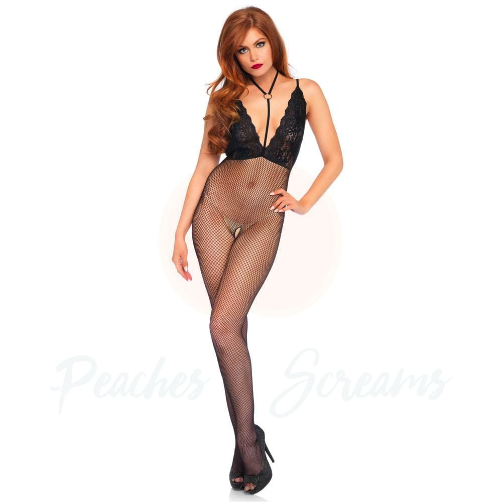 Black Crotchless Bodystocking with Lace Halter Top - Necronomicox