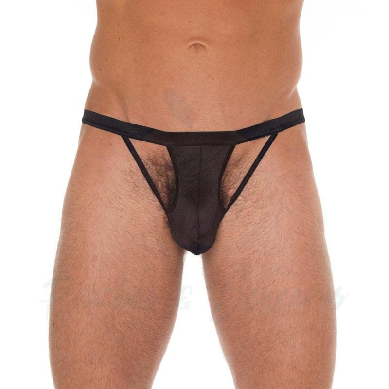 Black Cut-Out G-String Thong for Men - 🍑 Peaches and Screams