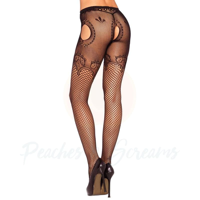 Black Fishnet Open-Crotch Stockings with Duchess Lace Top - 🍑 Peaches and Screams