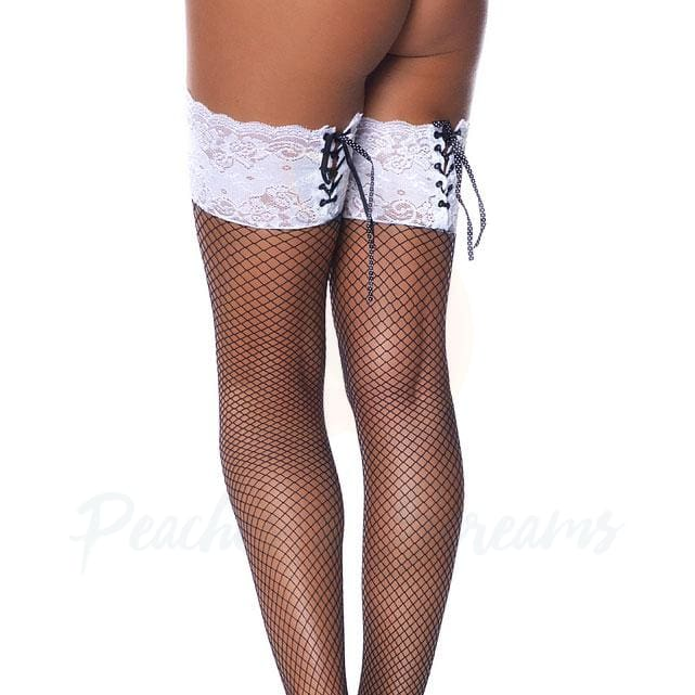 Black Fishnet Stockings with White Floral Lace Top and Lace-Up - Necronomicox