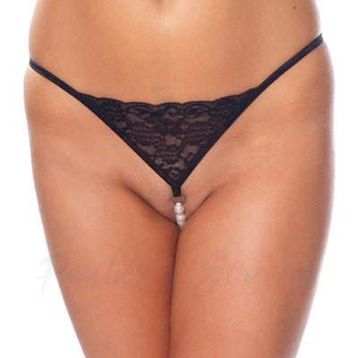 Black Floral Lace G-String with Pearl Line Beading for Women - Peaches and Screams