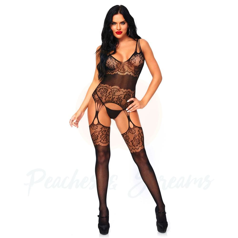 Black Floral Lace Suspender Playsuit with Strappy Back UK 8-14 - Necronomicox