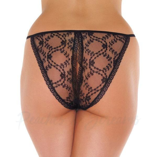 Black Floral Patterned Lace Crotchless Tanga Knickers - Peaches and Screams