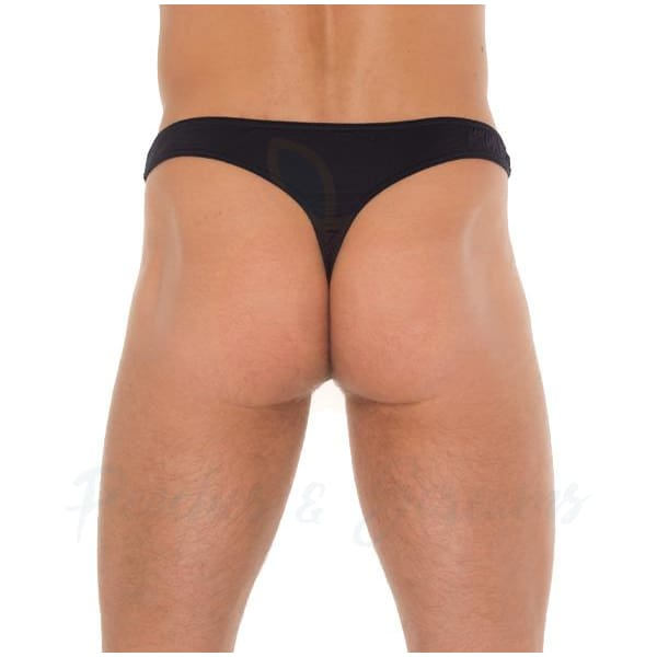 Black G-String Thong with See-Through Net Pouch for Men - Peaches and Screams