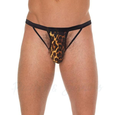Black G-String with Strappy Detail and Animal Print Pouch for Men - Peaches & Screams