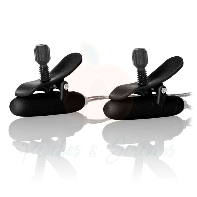 Black Heated Vibrating Nipple Stimulators with Remote Control - Necronomicox