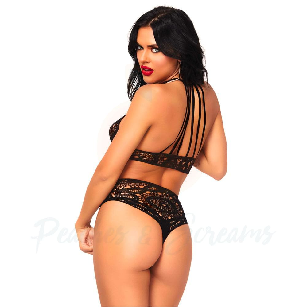 Black Lace Halter Bra and G-String with Lace and Strappy Detail - M/L - 🍑 Peaches and Screams