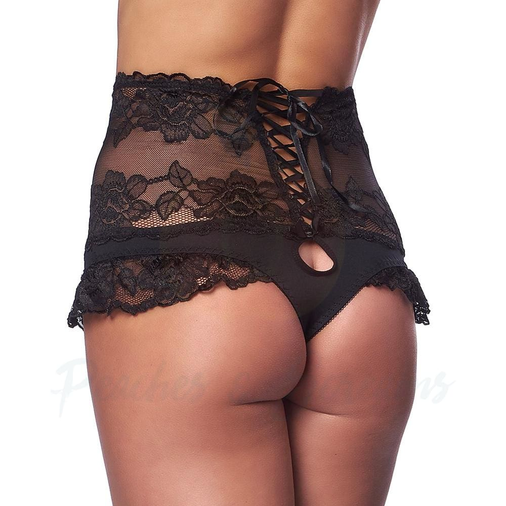 Black Lace High-Waisted Women's Brief with Lace-Up Back - 🍑 Peaches and Screams