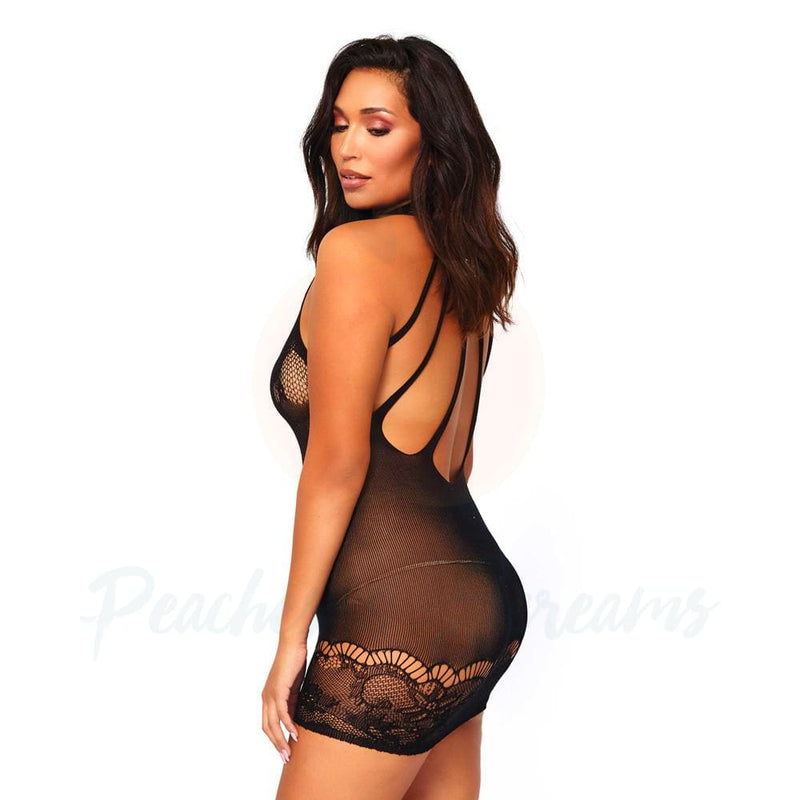 Black Lace Mini-Dress with Strappy Back Detail UK 16-18 - Necronomicox