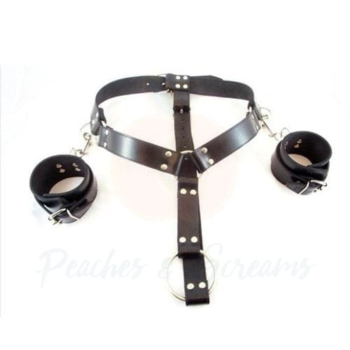Black Latex Adjustable Collar Harness with Wrist Restraints - Necronomicox