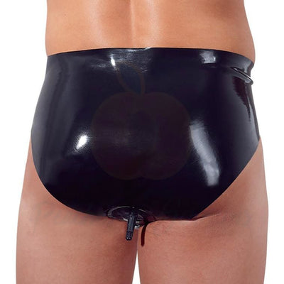 Black Latex Briefs with Inflatable Anal Butt Plug for Men - Peaches and Screams