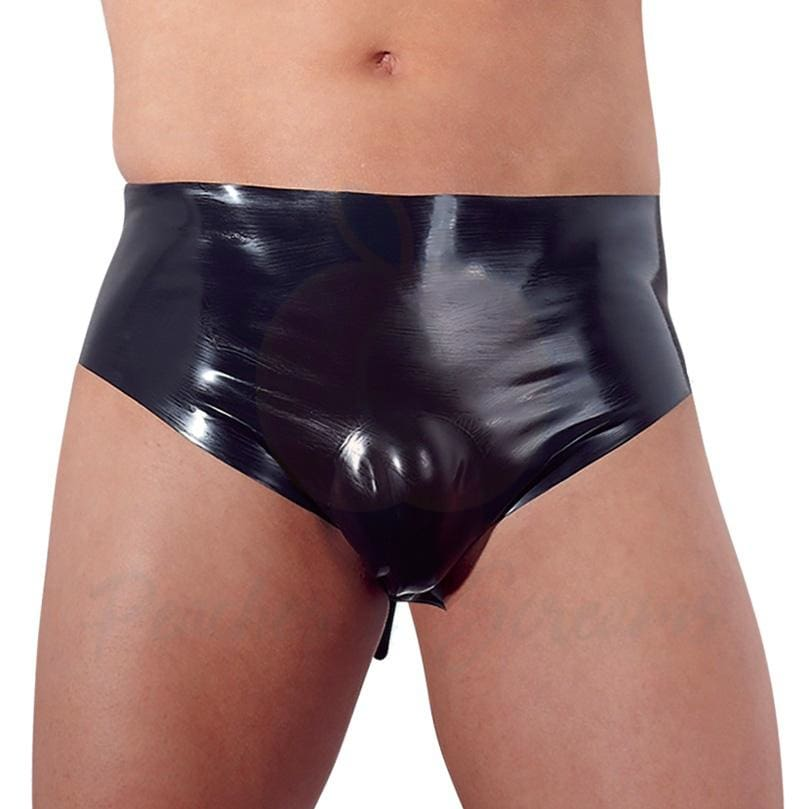 Black Latex Briefs with Inflatable Anal Butt Plug for Men - Necronomicox