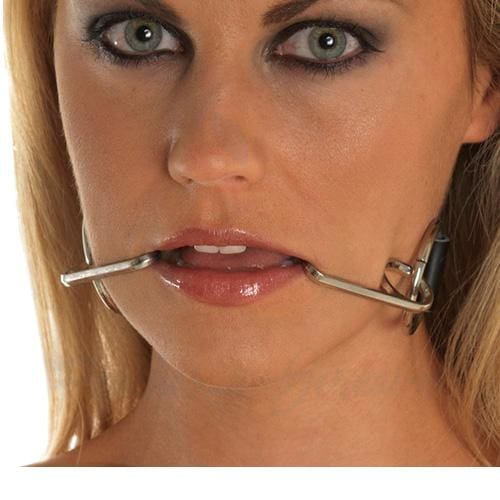 Black Leather Adjustable Mouth Gag Strap with Metal Smile Hooks - Peaches and Screams