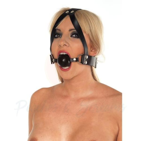Black Leather Mouth Ball Gag with Rubber Ball and Head Harness - Necronomicox