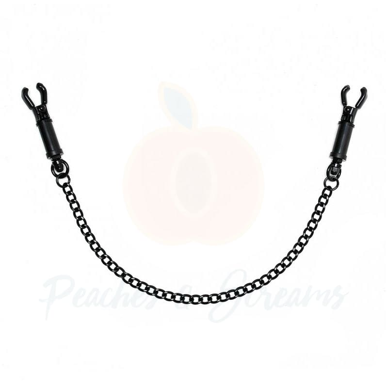 Black Metal Adjustable Nipple Clamps With Chain - 🍑 Peaches and Screams