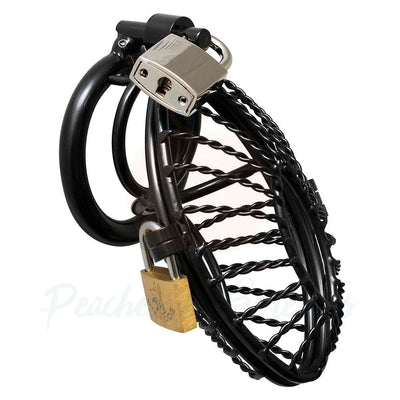 Black Metal Lockable Male Chastity Cock Cage with 2 Padlocks - Peaches and Screams