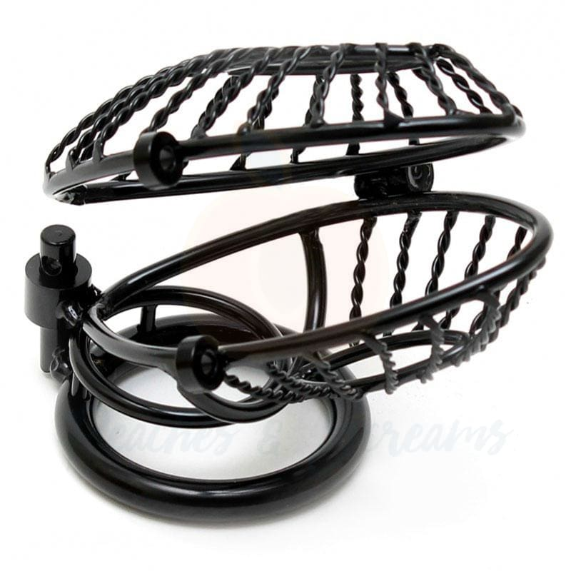 Black Metal Lockable Male Chastity Cock Cage with 2 Padlocks - Necronomicox
