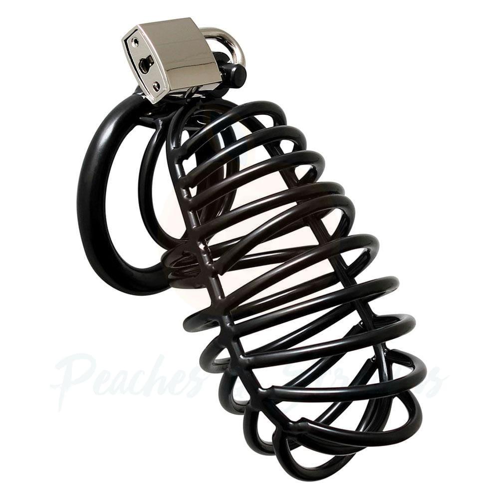 Black Metal Male Chastity Cock Cage with Padlock - Necronomicox