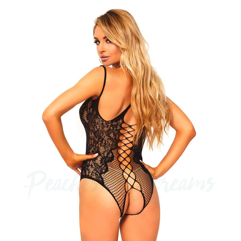 Black Net and Lace Crotchless Teddy Playsuit with Lace-Up Back - 🍑 Peaches and Screams