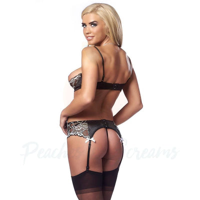 Black Open-Cup Bra and G-String Suspender Set with Stockings - Necronomicox