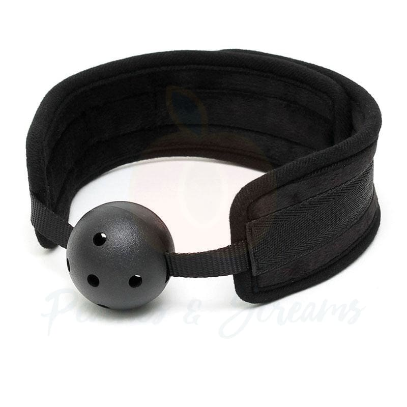 Black Padded Bondage Sex Mouth Ball Gag Restraint - Necronomicox
